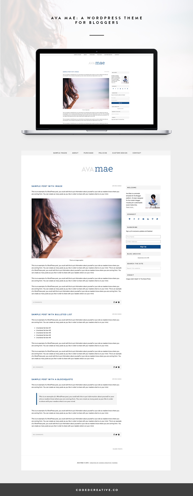 Ava Mae is a feminine and simple blog template created for the WordPress platform. Ava Mae is the perfect template for the new blogger looking to get an upgraded look on a budget.
