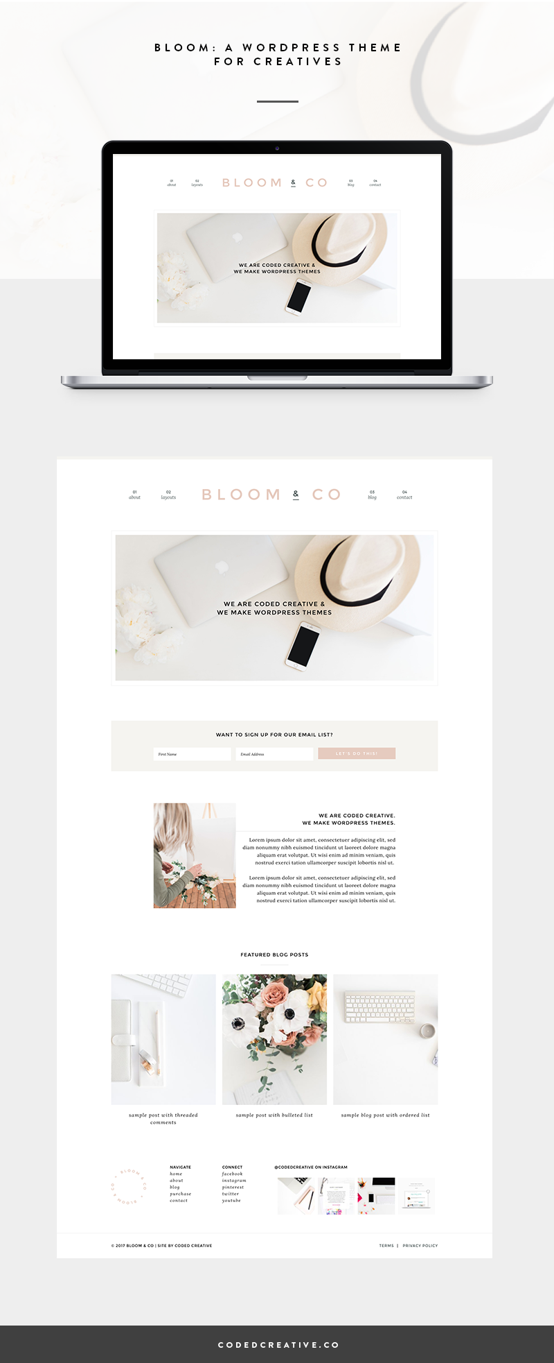 Bloom is a simple website and blog template created for the WordPress platform.It was created for creative business owners and bloggers who want a unique look for their site while still being able to grow their blog and business with ease.