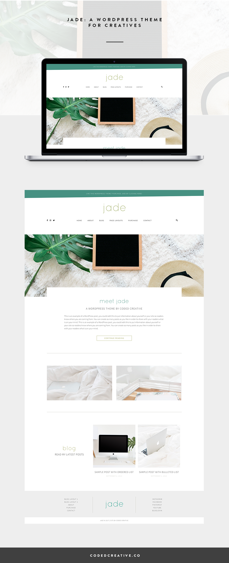 Jade is a beautiful website and blog template created for the WordPress platform.It was created for creative business owners and bloggers who want a unique look for their site while being able to grow their blog and business with ease.