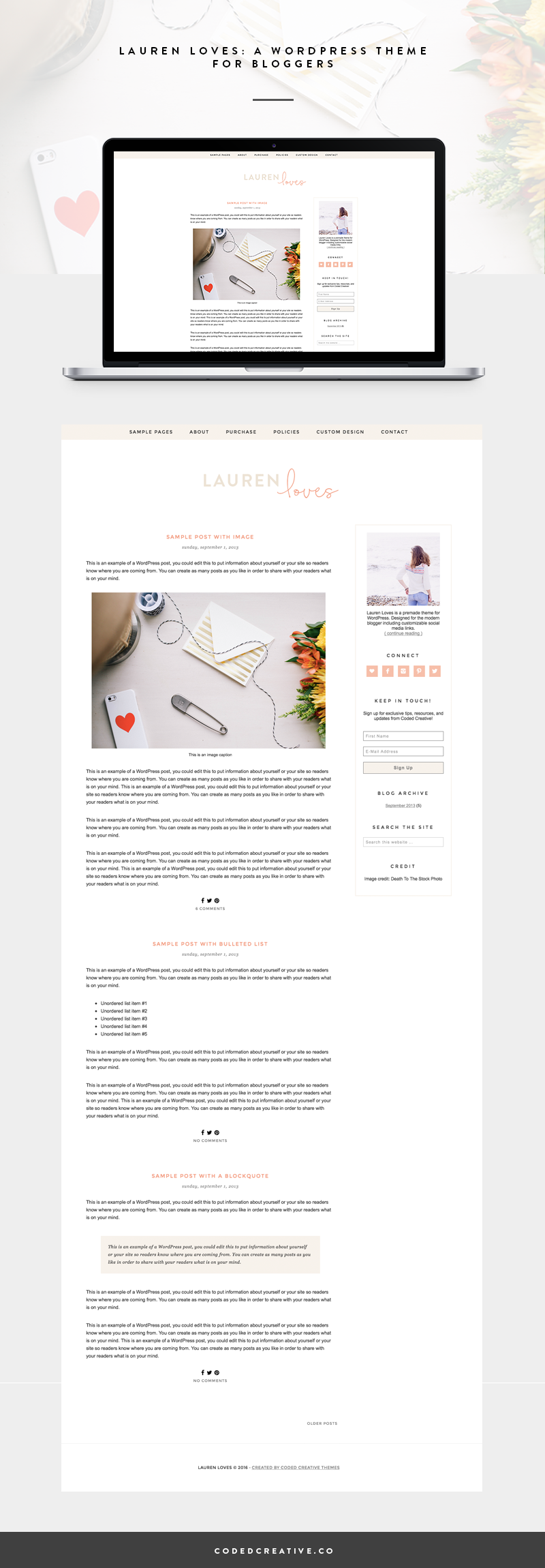 Lauren Loves is a feminine and simple blog template created for the WordPress platform. The header and blog design features nude and peach colors as well as sans serif and script fonts. Lauren Loves is the perfect template for the new blogger looking to get an upgraded look on a budget.