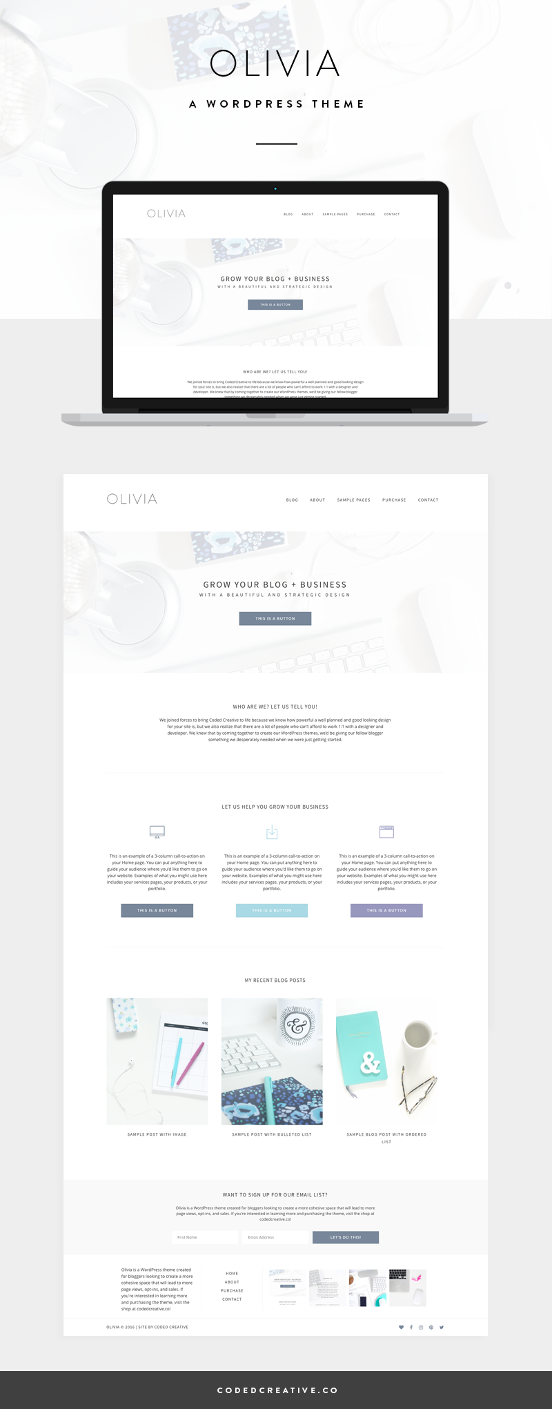 Olivia is a simple website and blogging template created for the WordPress platform. It was created for business owners looking to create a more cohesive space that will lead to more page views, opt-ins, and sales.