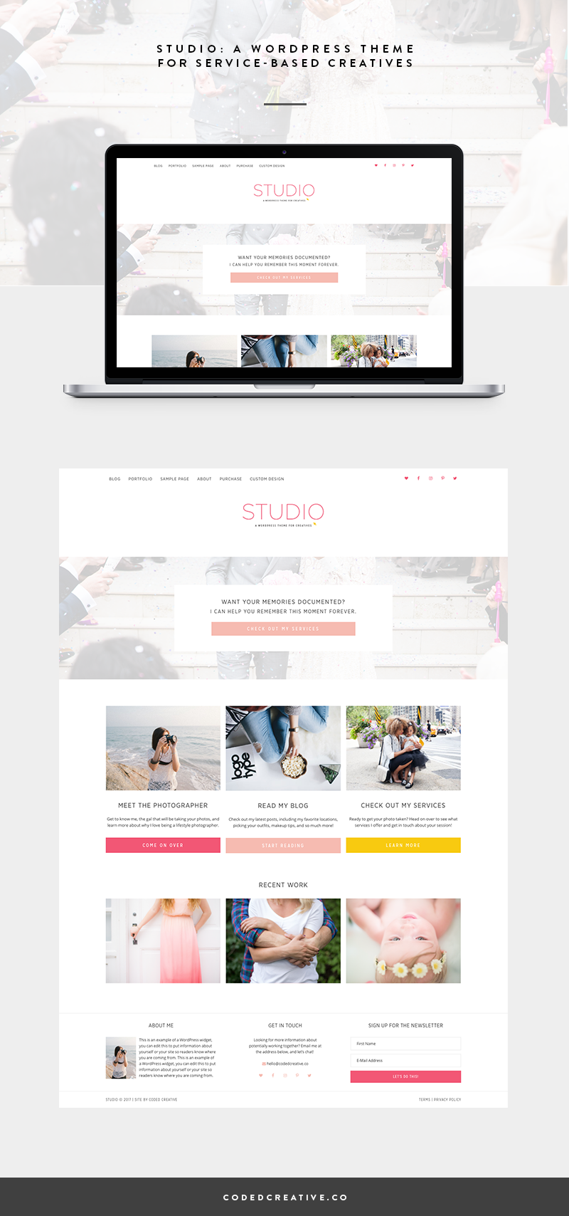 Studio is a simple website and blogging template created for the WordPress platform. It was created for creative business owners looking to show off their work in a way that will lead to booking more clients.