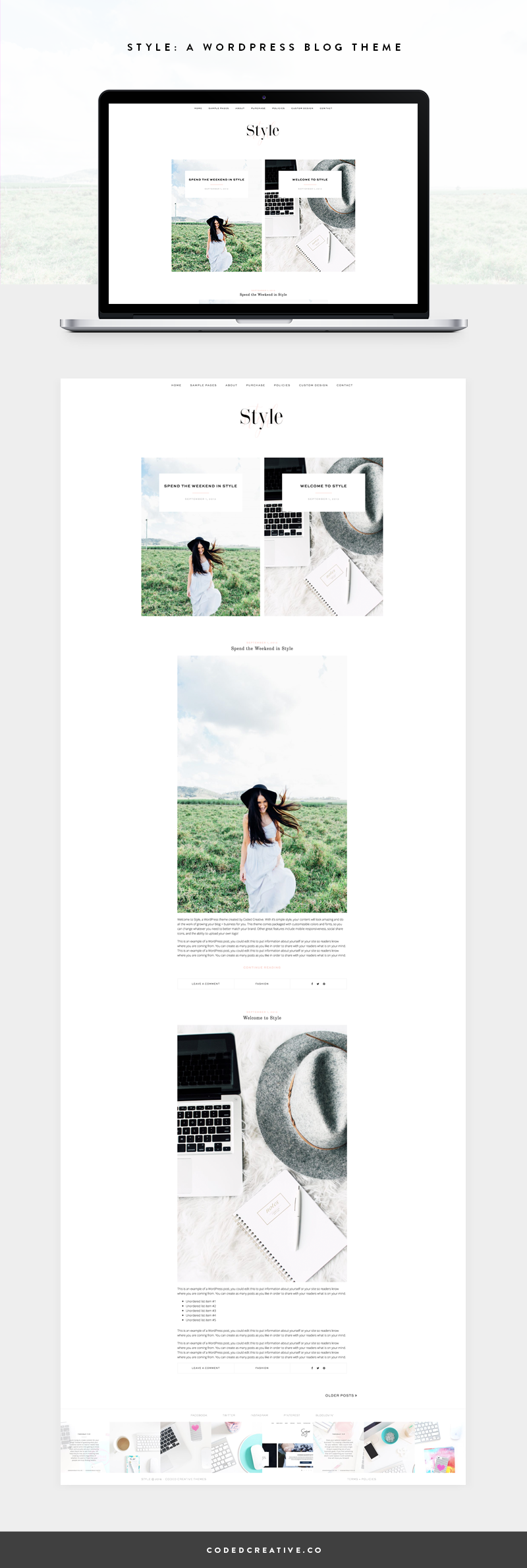 Style is a simple and feminine blog template for the WordPress platform. With its minimal style and no sidebar, your content will be front and center on your site and do the work of growing your blog for you.