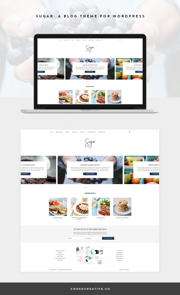 Sugar is a beautiful WordPress theme for food bloggers and anyone else who wants their content and images to shine.