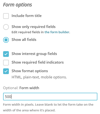 MailChimp form options