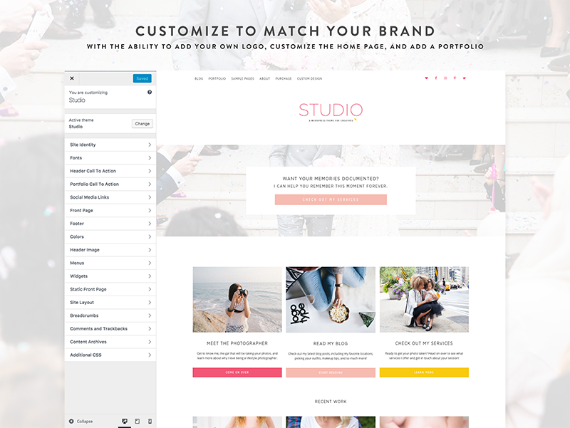 Studio - A WordPress Theme for Photographers + Designers