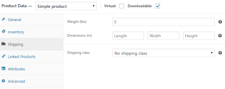 WooCommerce product shipping settings