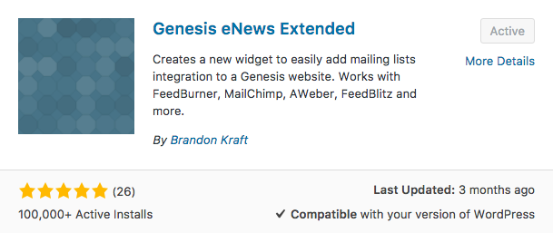 Genesis eNews Extended plugin by Brandon Kraft