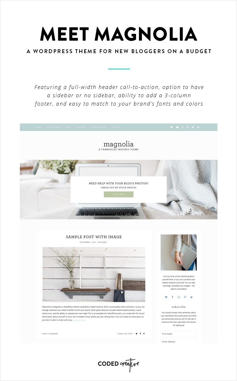 Meet Magnolia - A WordPress Theme for New Bloggers on a Budget