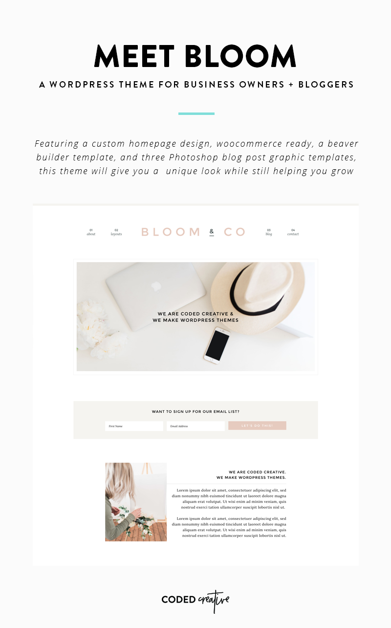 Meet Bloom - WordPress Theme for Business Owners & Bloggers