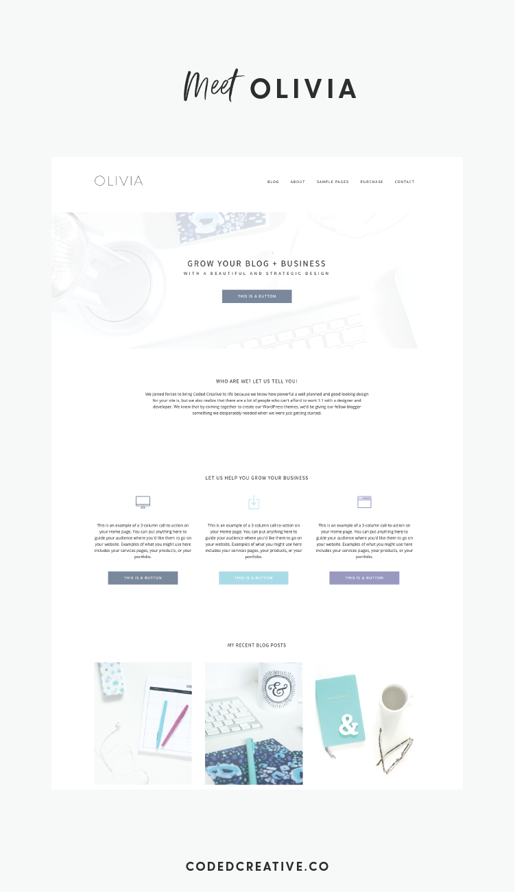 Our new Olivia theme for creative entrepreneurs features various layout options, a full-width header call-to-action, and WooCommerce compatibility.