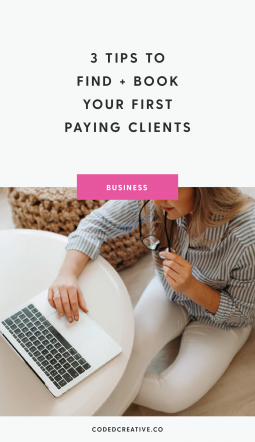 Whether you're struggling to make your first $1k month or just starting your business, here are 3 tips that will help you find + book your first (or more) paying clients!