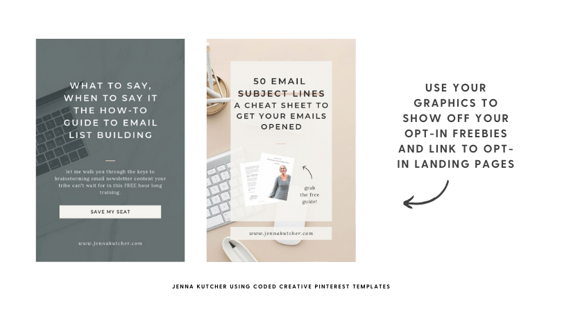 Jenna Kutcher using Coded Creative Pinterest Templates